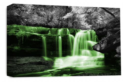 Waterfall Wall Art Green Grey White Landscape Canvas Forrest Picture